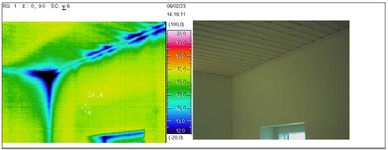 Termograferiner - kontrol af kuldebroer (optaget i forbindelse etableret undertryk i bygningen)